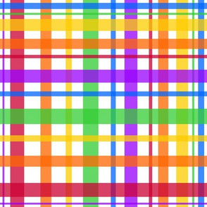 Rainbow Plaid on White