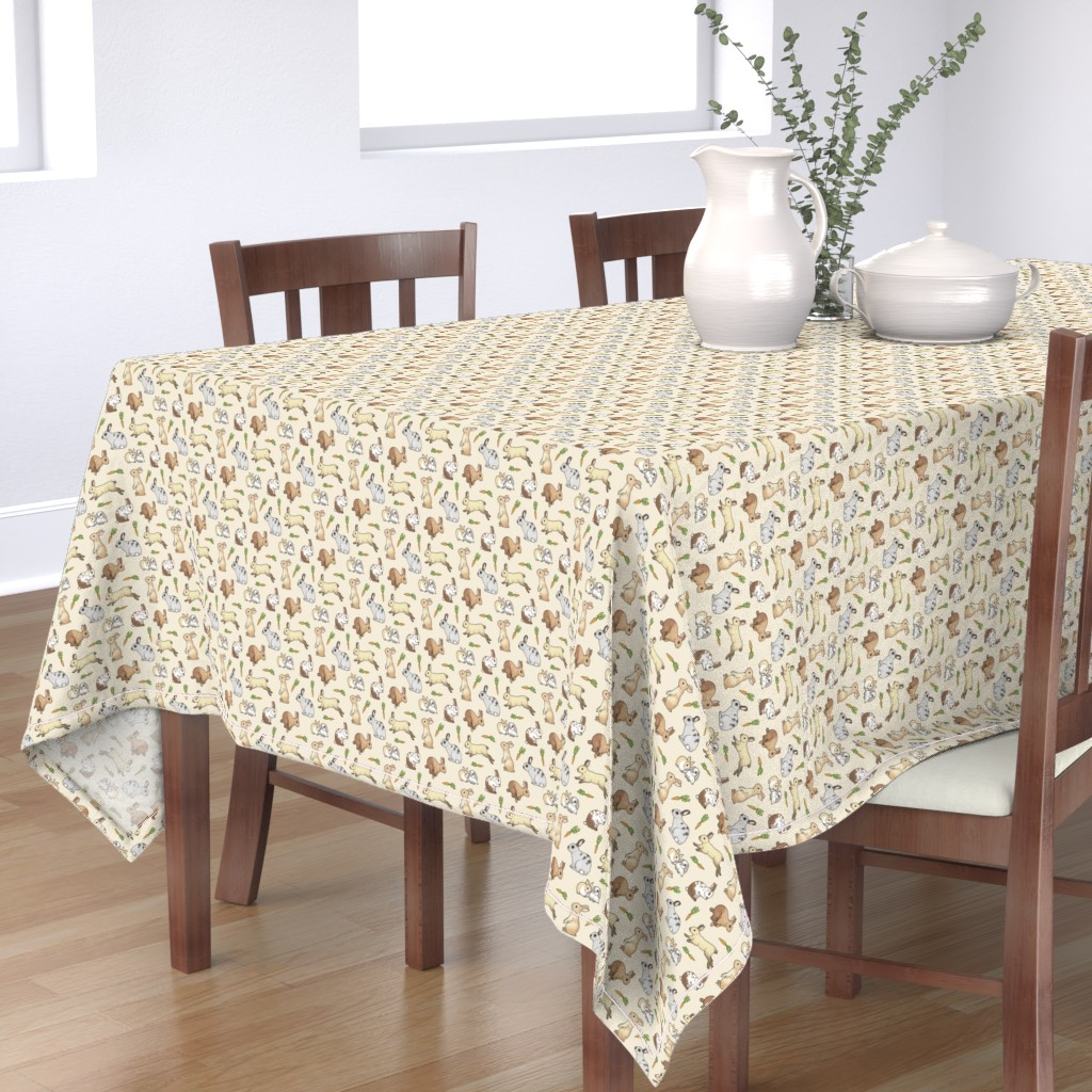 Bantam Rectangular Tablecloth featuring Rabbits by hazelfishercreations