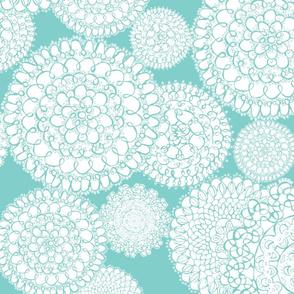 Delightful Doilies - Feminine Lace Tiffany Aqua Blue