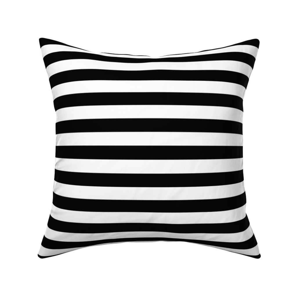 Catalan Throw Pillow featuring Black and white stripes by mintpeony