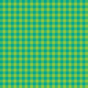 teal and lime gingham