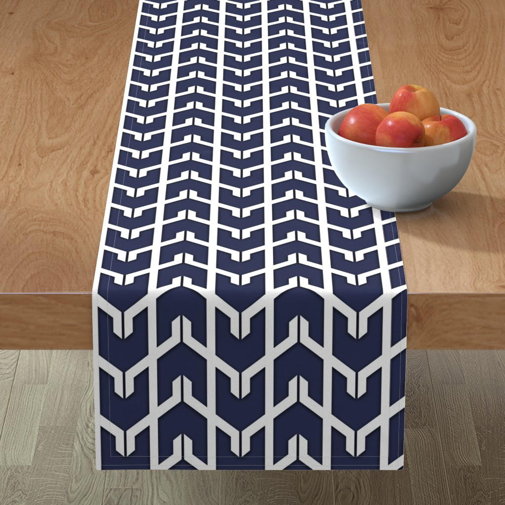 Minorca Table Runner featuring Navy Herringbone  by willowlanetextiles