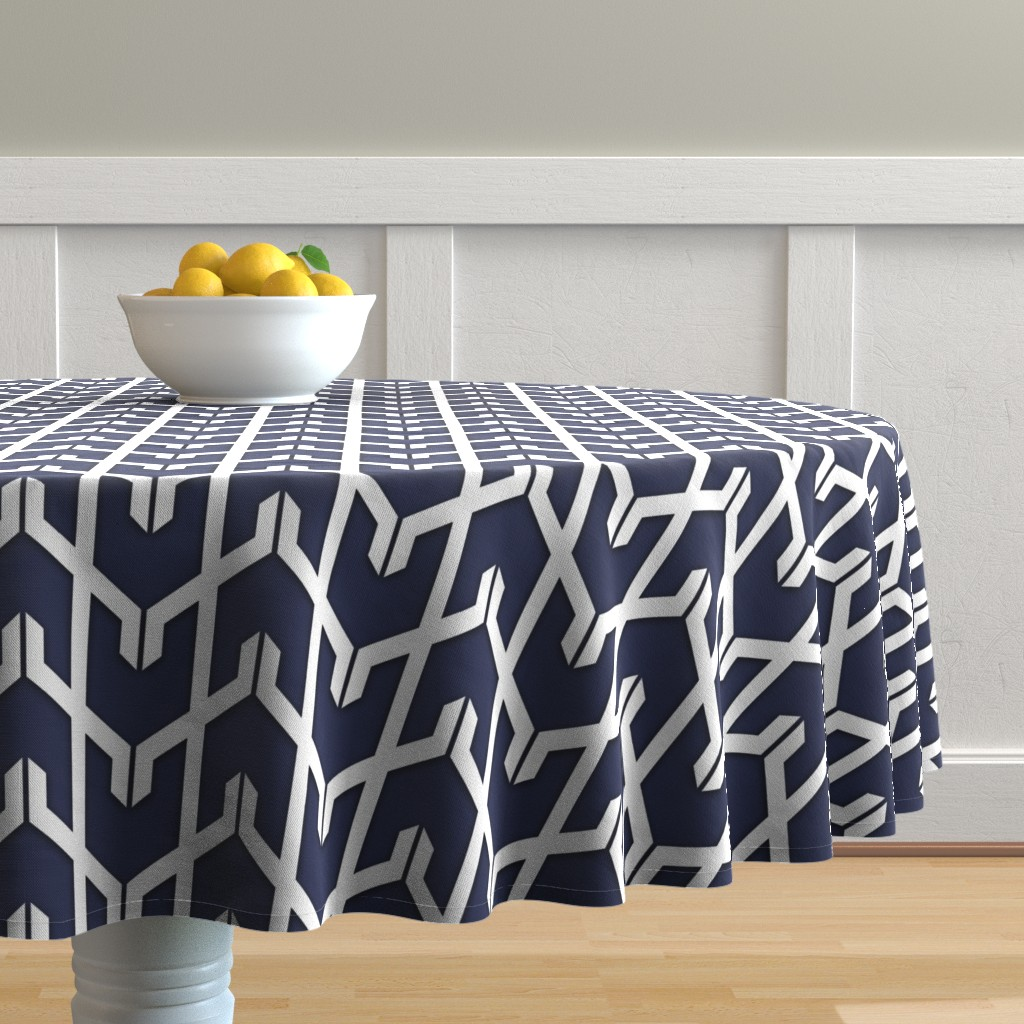 Malay Round Tablecloth featuring Navy Herringbone  by willowlanetextiles
