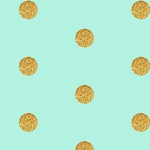 Gold Glitter Dots on Mint