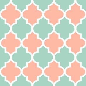 Quatrefoil in Mint and Coral
