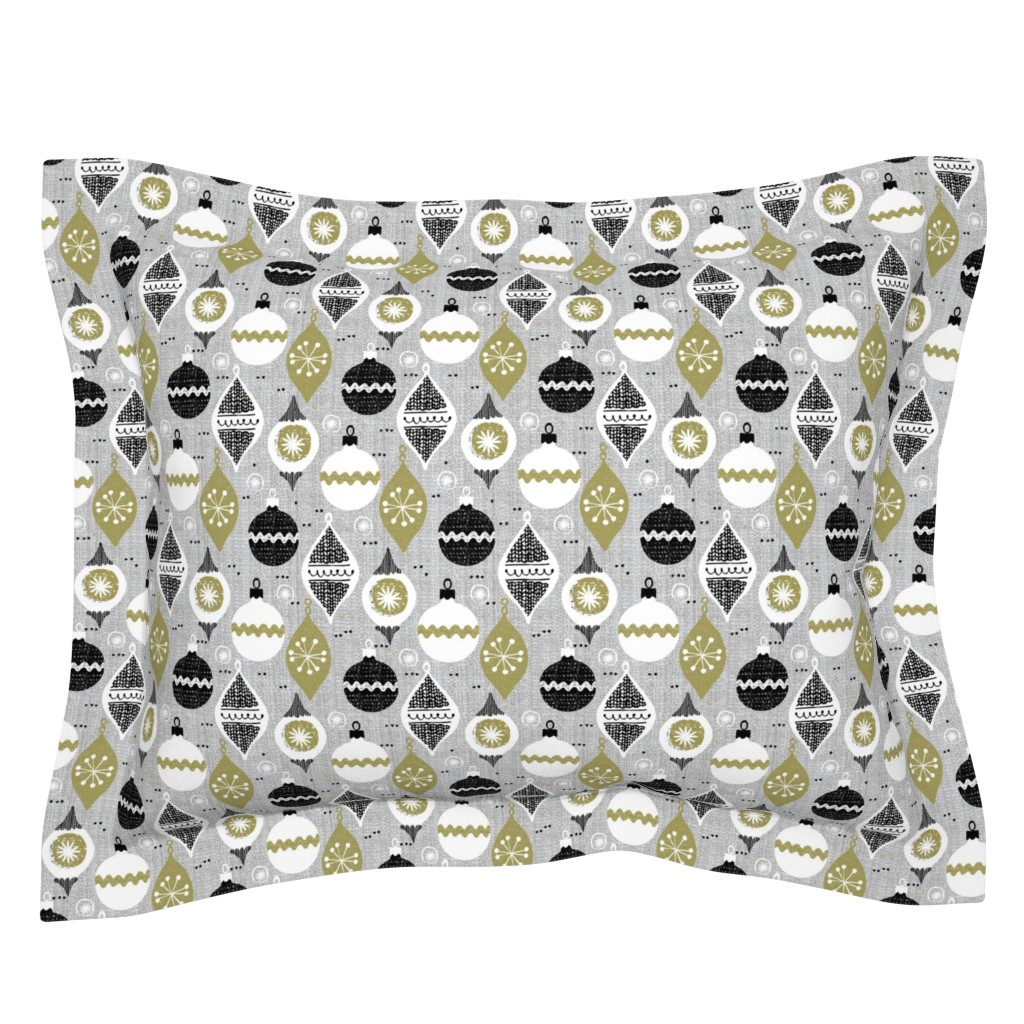 Sebright Pillow Sham featuring  vintage ornaments - gray - retro -small scale -Christmas holiday-winter by ottomanbrim