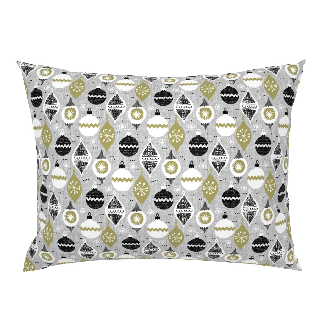 Campine Pillow Sham featuring  vintage ornaments - gray - retro -small scale -Christmas holiday-winter by ottomanbrim