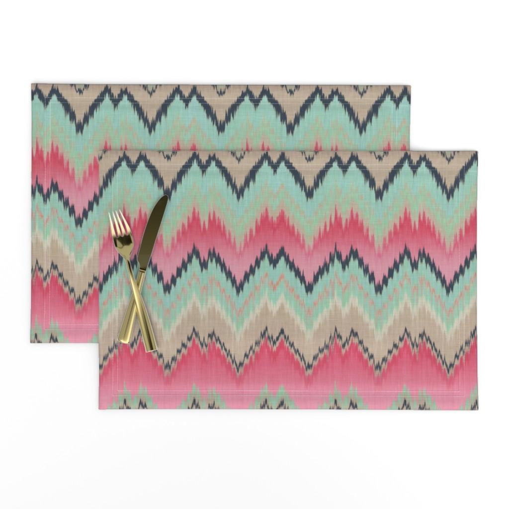 Lamona Cloth Placemats featuring Fuchsia Ikat Chevron by willowlanetextiles