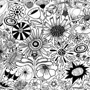 black and white flower doodle fantasy