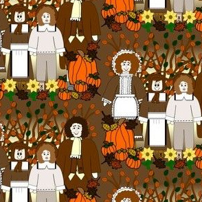 Fall Pilgrim, Thanksgiving, Trees, and Flowers Fabric