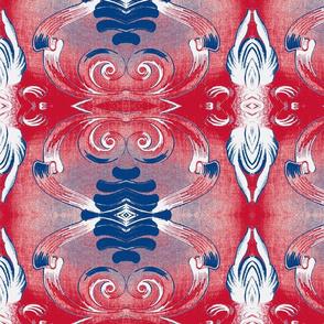 Art Nouveau Swirls -  Patriotic
