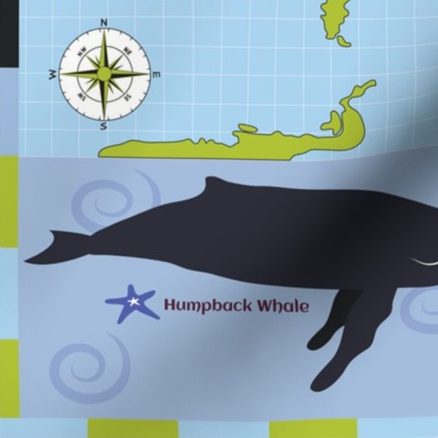 Fabric by the Yard Whale Watching Map Blue Green
