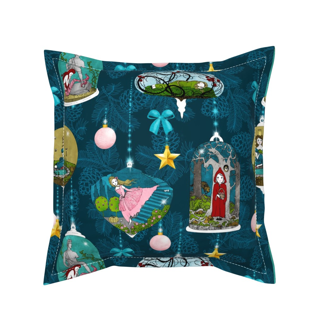 Serama Throw Pillow featuring Fairytale Xmas Tree Ornaments (Dark) by nouveau_bohemian