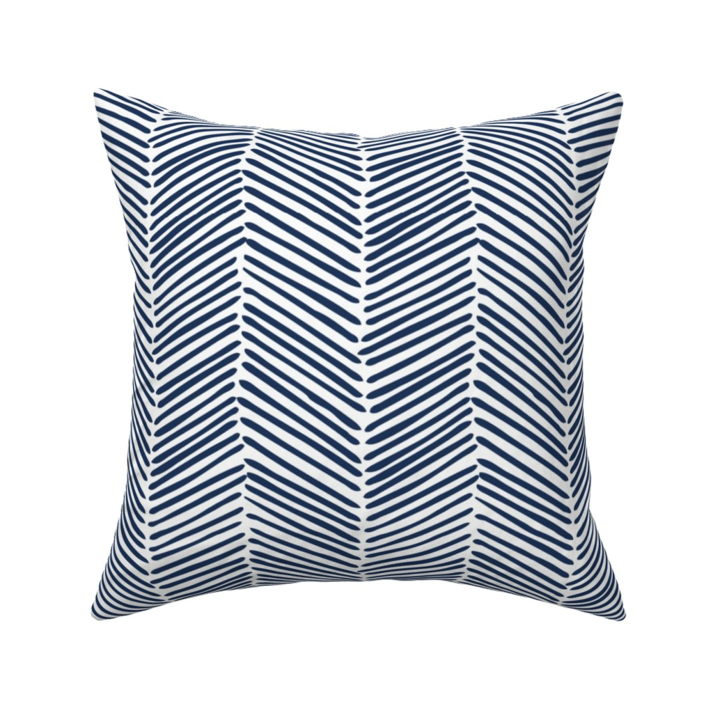 Catalan Throw Pillow featuring Freeform Arrows Large in indigo by domesticate