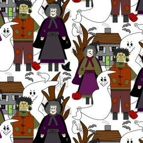 Halloween, Witch, Hats, Spiders, Spider Webs,bats and Jack O Lantern   Scene Fabric