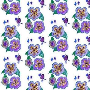 Blue Flowers and Butterflies