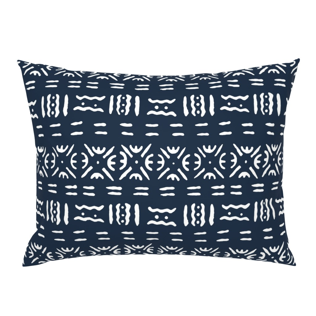 Campine Pillow Sham featuring Mudcloth in Navy by willowlanetextiles