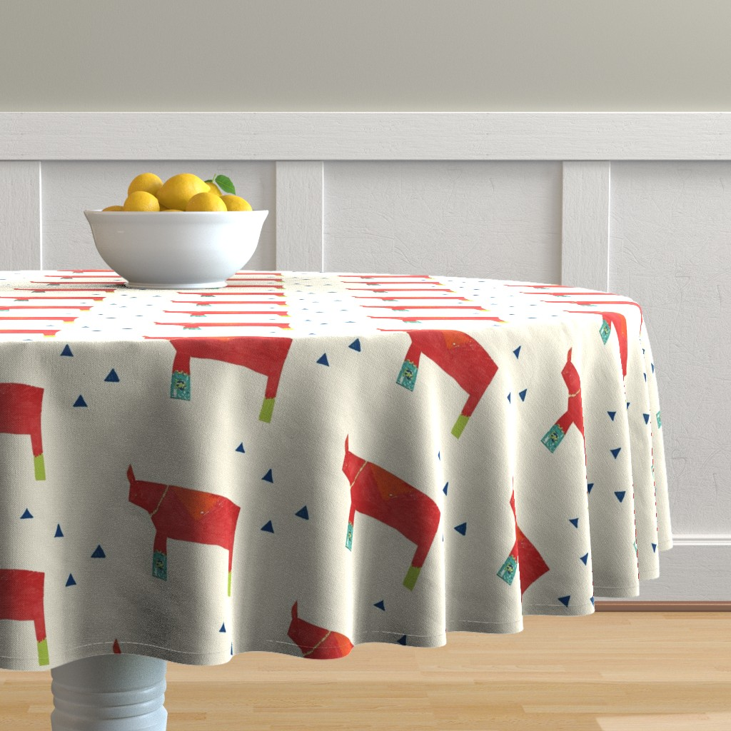 Malay Round Tablecloth featuring Daddy Rhino - Cream by kari_goodwin