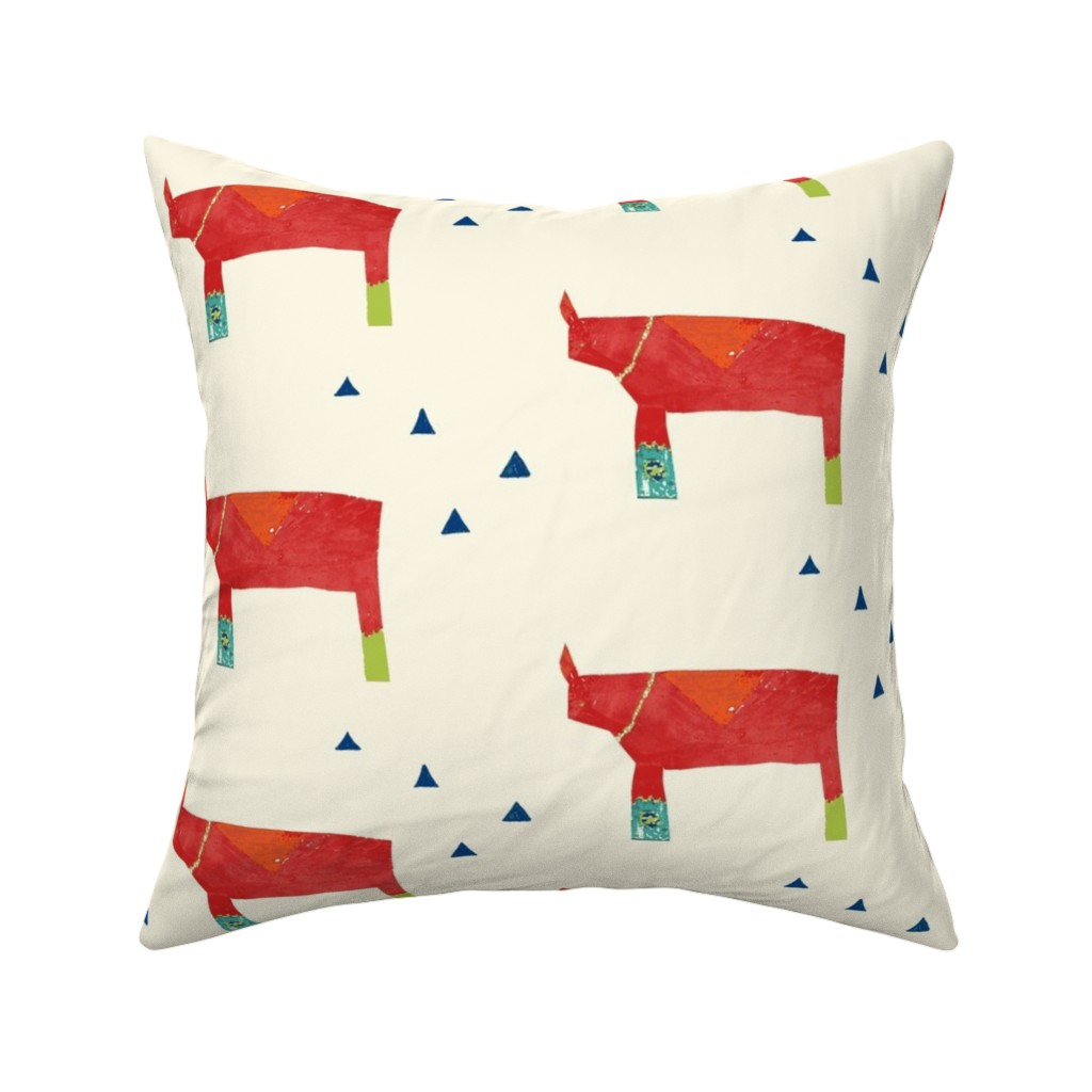 Catalan Throw Pillow featuring Daddy Rhino - Cream by kari_goodwin