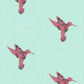 Floral Hummingbird in Mint