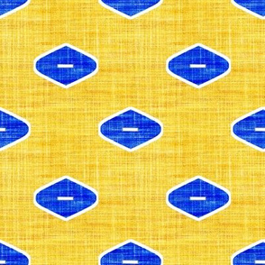 Mod Ogee in cobalt blue and lemon yellow
