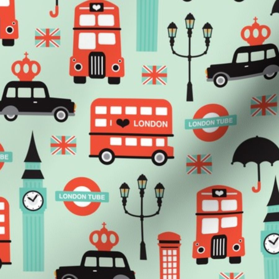0312018f551d Fabric by the Yard London city travel icon