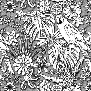 Jungle Flowers (Black/White)