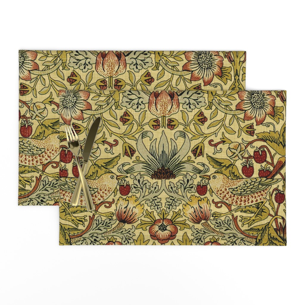 Lamona Cloth Placemats featuring William Morris ~ Strawberry Thief ~ Trianon Cream ~ Linen Luxe by peacoquettedesigns