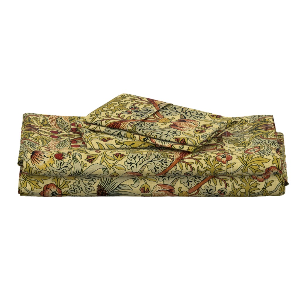 Langshan Full Bed Set featuring William Morris ~ Strawberry Thief ~ Trianon Cream ~ Linen Luxe by peacoquettedesigns