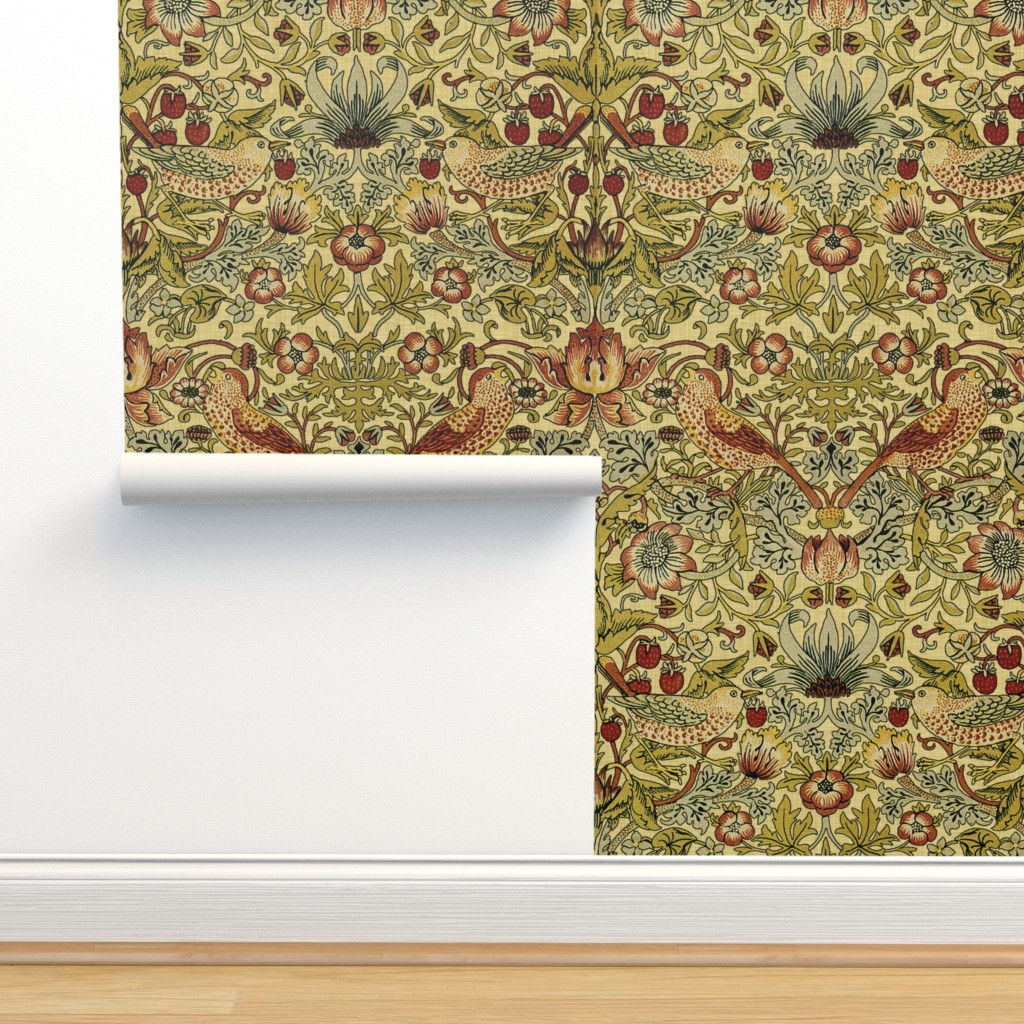 Isobar Durable Wallpaper featuring William Morris ~ Strawberry Thief ~ Trianon Cream ~ Linen Luxe by peacoquettedesigns