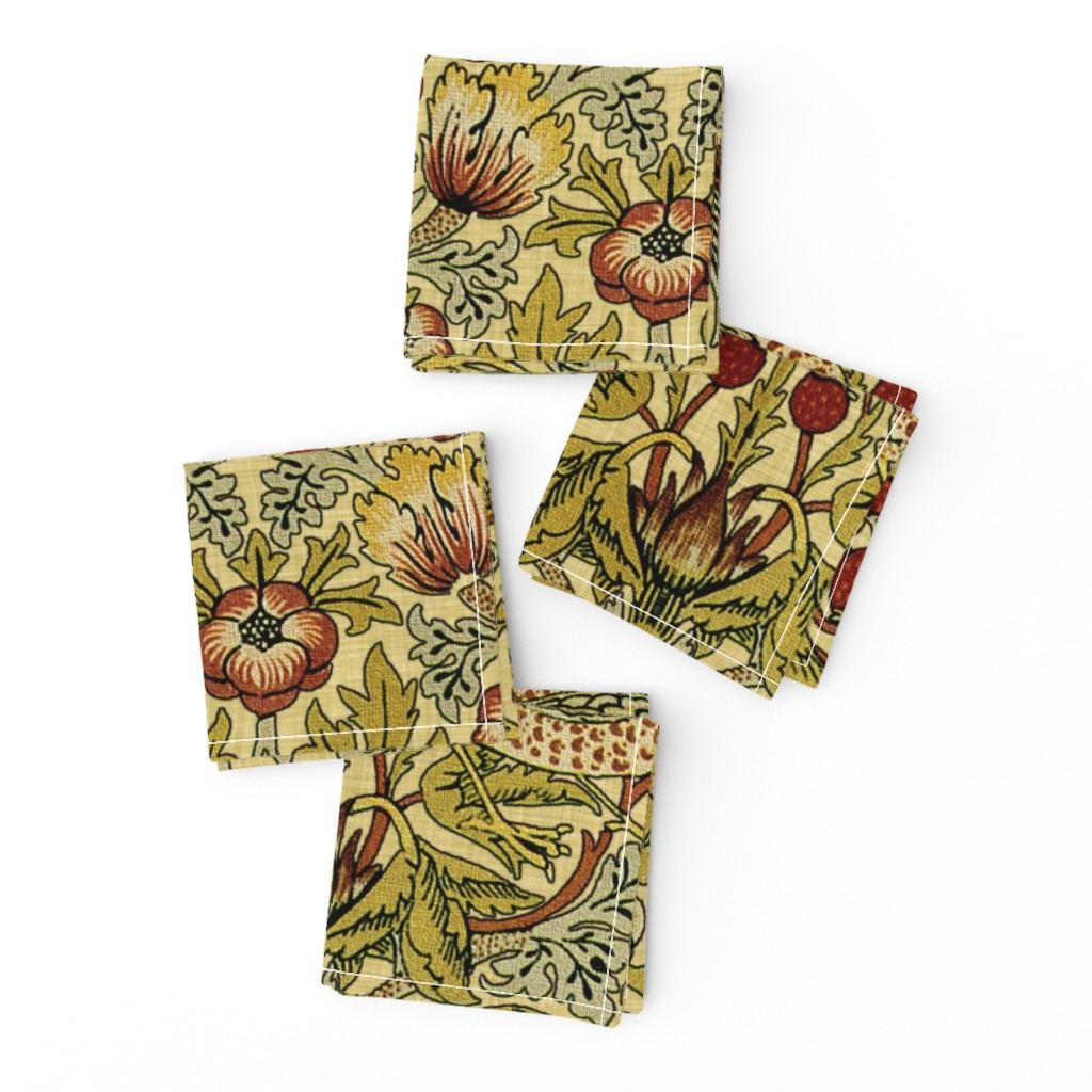 Frizzle Cocktail Napkins featuring William Morris ~ Strawberry Thief ~ Trianon Cream ~ Linen Luxe by peacoquettedesigns