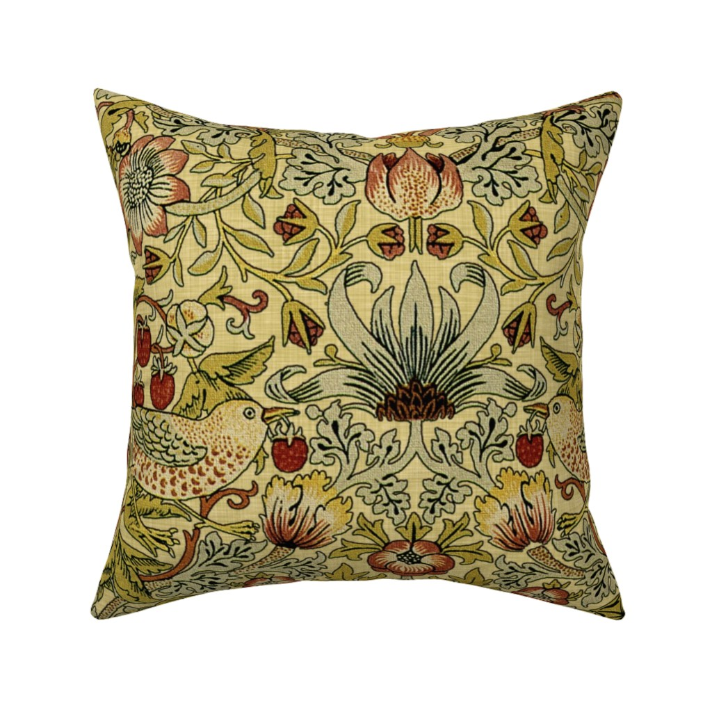 Catalan Throw Pillow featuring William Morris ~ Strawberry Thief ~ Trianon Cream ~ Linen Luxe by peacoquettedesigns
