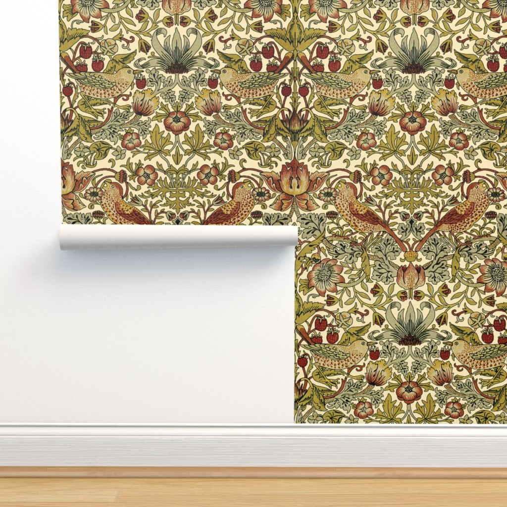 Isobar Durable Wallpaper featuring William Morris ~ Strawberry Thief ~ Trianon Cream by peacoquettedesigns
