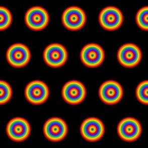 Rainbow Twirl Dots on Black