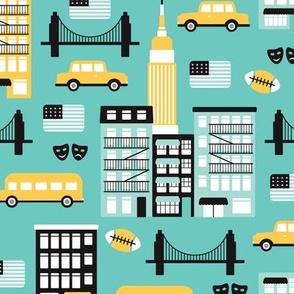 New York City travel icons retro illustration