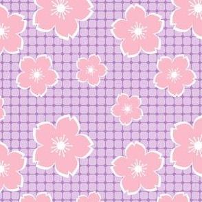 Sakura - pink on lavender checker