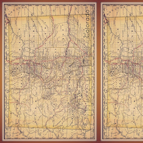 vintage Colorado map, FQ vert
