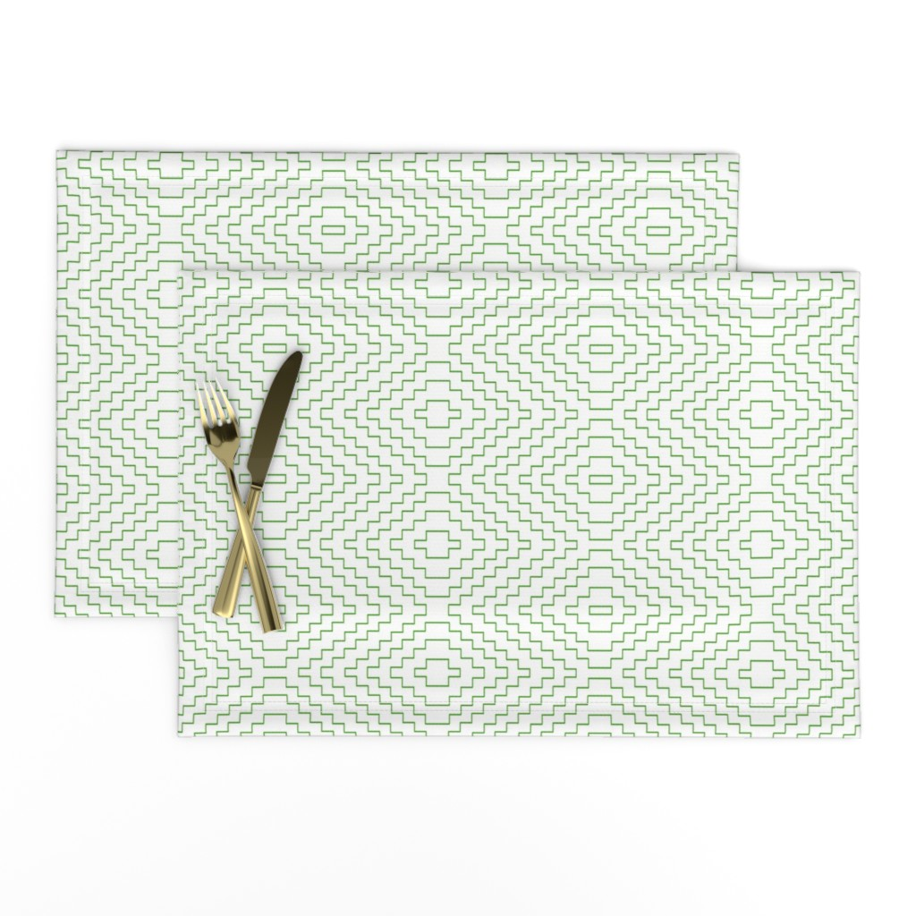 Lamona Cloth Placemats featuring Aztec in Green by willowlanetextiles