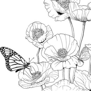 Poppies and Butterflies.