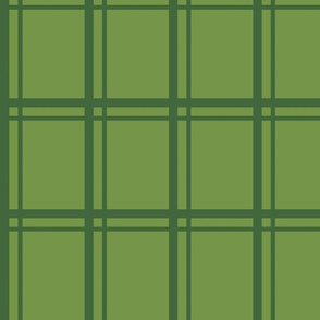 Plaid-Stripes in Green on Green