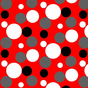 Lots of Dots Red and Gray