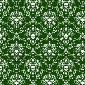 White and Green Skull Damask