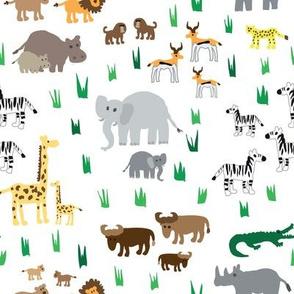 hand drawn African animals