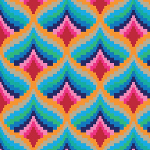 Abstract folk pixel pattern