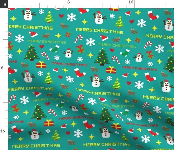 Tissu Au Mètre Noël Pixel Art Cadeaux Vacances Pixel Présente Renne Rétro