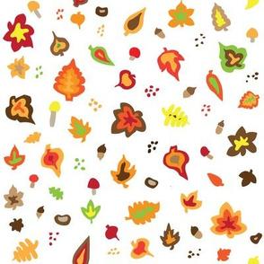 Handdrawn autumn leaves
