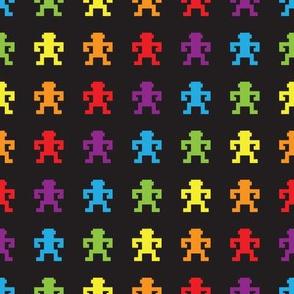 Retro rainbow pixel monkey