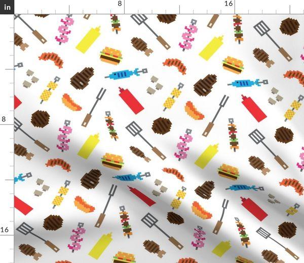 Tissu Au Mètre Pixel Art Saucisse Barbecue été Blé Poisson Sauce Hamburger