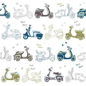 Retro vintage scooters