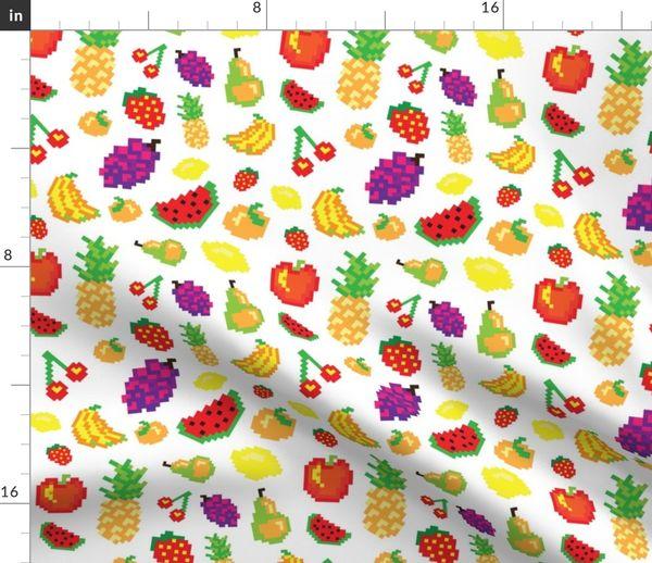 Tissu Au Mètre Pixel Art Cuisine En Bonne Santé Ananas Pomme Fraise Fruit Les Raisins